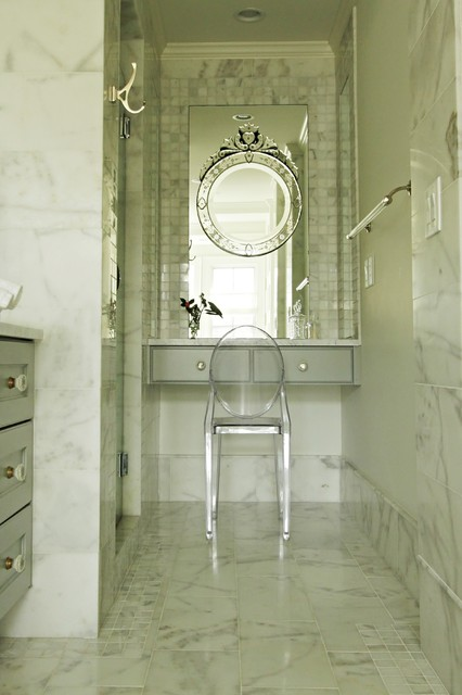Lucite Chair Bathroom Transitional with Airy Arcrylic Chair Built In