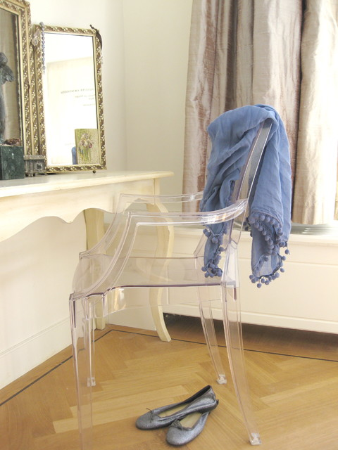 lucite chair Bedroom Eclectic with boudoir curtains drapes dressing