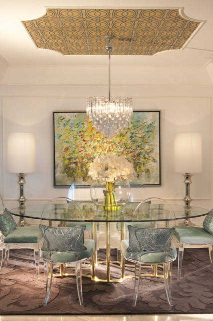 Lucite Chairs Dining Room Eclectic with Area Rug Artwork Centerpiece