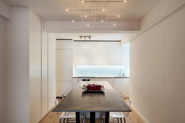 Lucite Desk Dining Room Contemporary with Glass Backsplash Kitchen Island