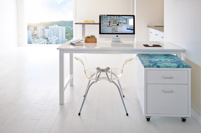 Lucite Desk Home Office Contemporary with Cabinets Chic City View