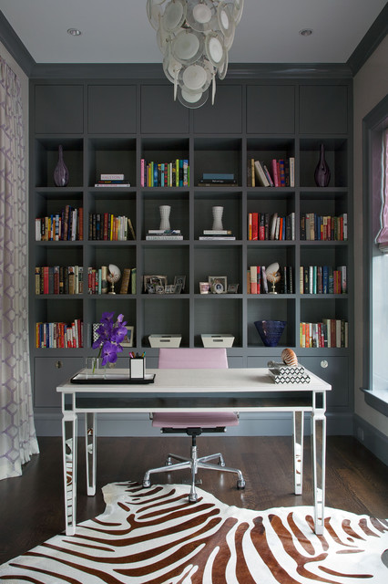 Lucite Desk Home Office Transitional with Book Display Built in Bookshelves