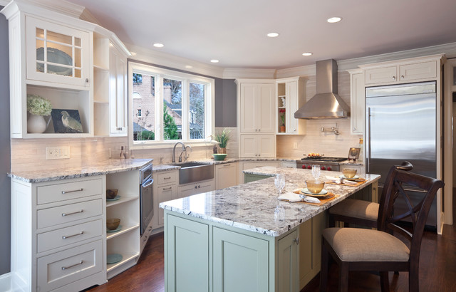 Luna Pearl Granite Kitchen Contemporary with Apron Sink Baseboards Ceiling1