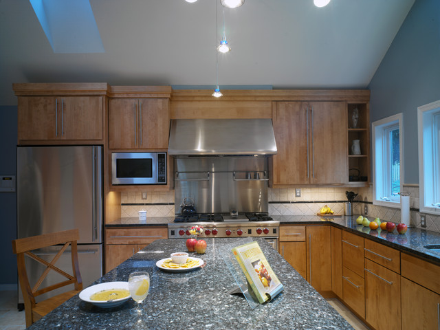 Luna Pearl Granite Kitchen Contemporary with Black Countertops Blue Wall