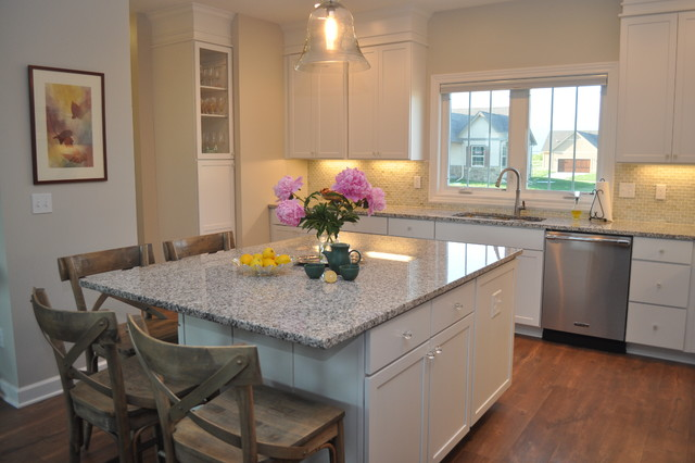 Luna Pearl Granite Kitchen Traditional with 42 Upper Cabinets French1
