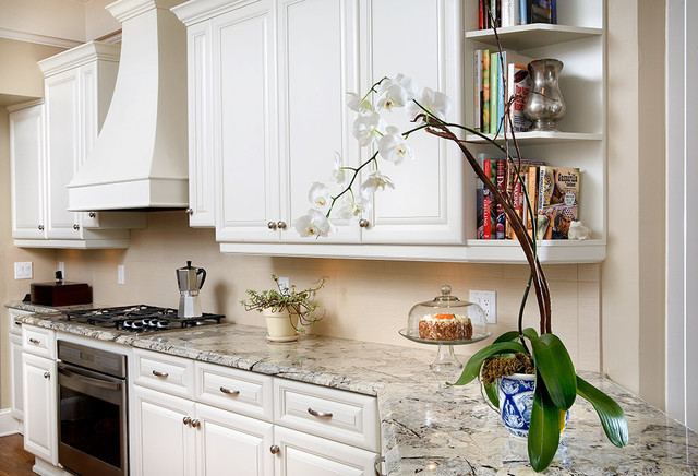 Luna Pearl Granite Kitchen Traditional with Bell Jar Bookshelves Cake
