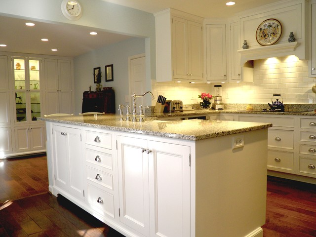 luna pearl granite Kitchen Traditional with blue paint custom eat-in