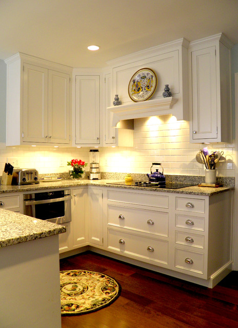 Luna Pearl Granite Kitchen Traditional with Blue Paint Custom Granite