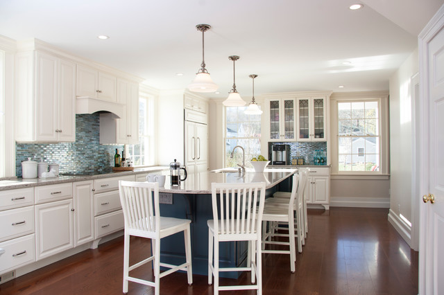 lunada bay tile Kitchen Beach with antique pendant lights baseboards