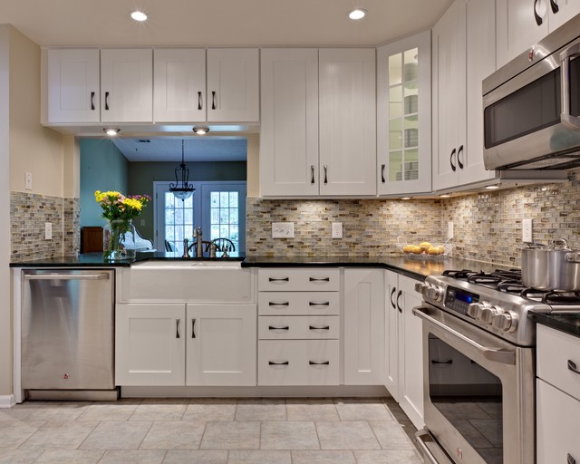 Lunada Bay Tile Kitchen Traditional with Apron Sink Farmhouse Sink