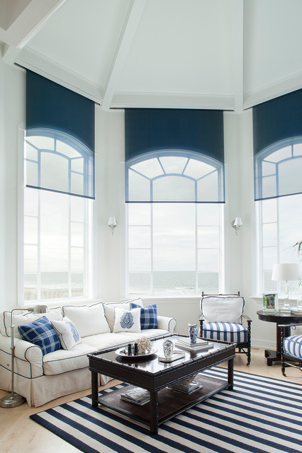 lutron electronics Family Room Contemporary with arched windows area rug