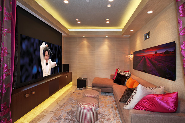 lutron electronics Home Theater Contemporary with clean condo contemporary cove