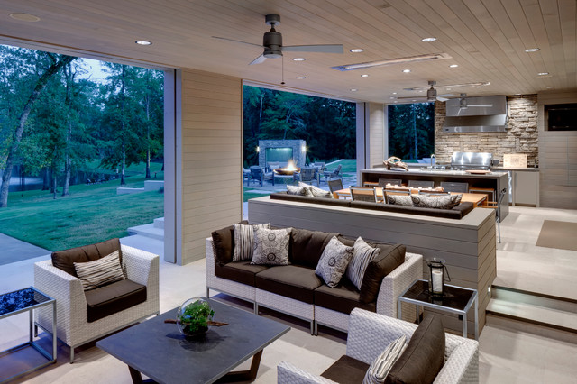 lutron electronics Patio Contemporary with ceiling fan grass grill