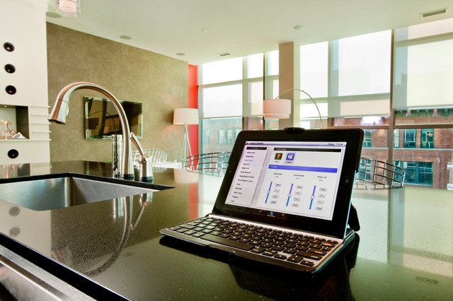 lutron electronics Spaces Modern with home automation