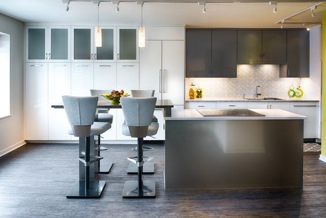 Luxury Vinyl Plank Kitchen Contemporary with Bright Condo Condominium Frosted