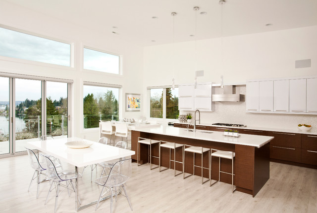 Luxury Vinyl Plank Kitchen Contemporary with Clear Dining Chairs Clerestory