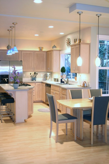 Luxury Vinyl Plank Kitchen Traditional with Accent Lighting Alder Backlighting