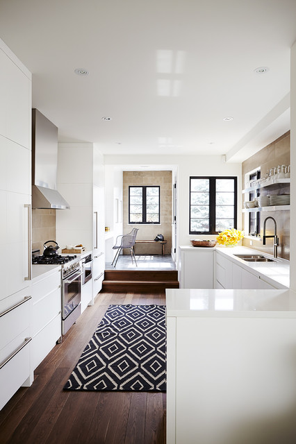 Machine Washable Rugs Kitchen Transitional with Black and White Area
