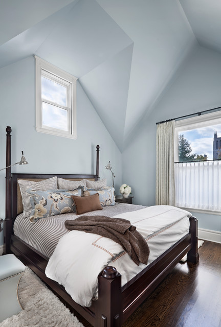 madison park bedding Bedroom Transitional with baseboards blue walls brown