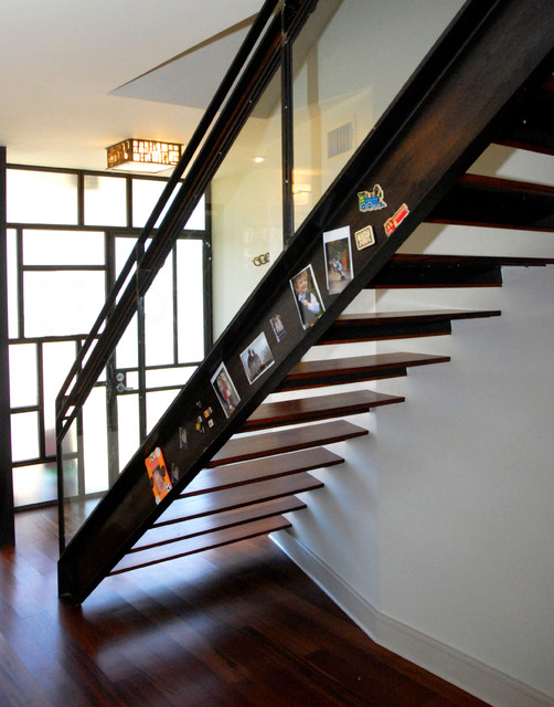 Magnetic Bulletin Board Staircase Contemporary with Glass Door Glass Railing