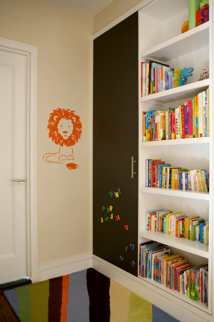 Magnetic Chalkboard Kids Transitional with Beige Wall Built in Bookcase