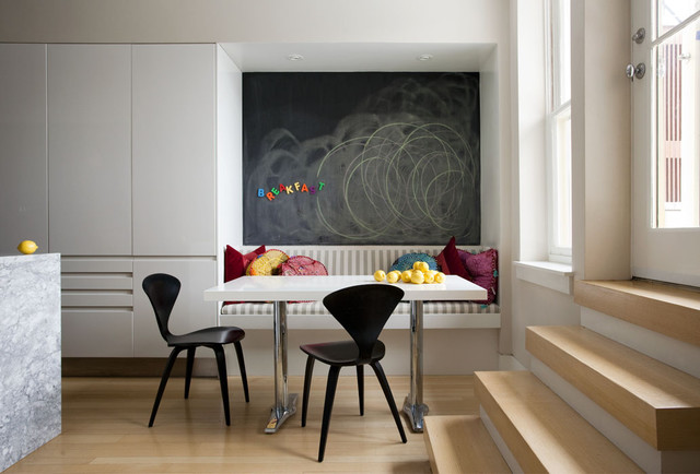 Magnetic Chalkboard Kitchen Contemporary with Banquette Blonde Wood Breakfast