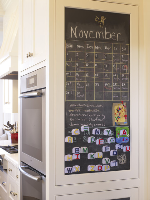 Magnetic Chalkboard Kitchen Contemporary with Calendar Chalkboard Double Ovens
