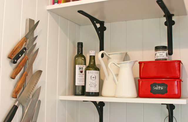 Magnetic Knife Holder Kitchen Farmhouse with Shelf Detail