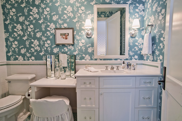 Makeup Vanities Bathroom Traditional with Blue Floral Wallpaper Green