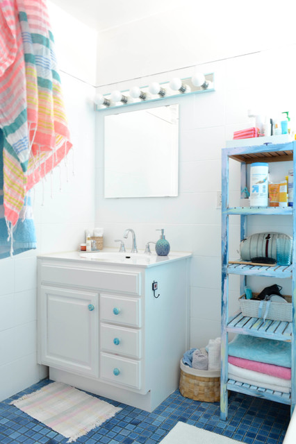 Makeup Vanity Ikea Bathroom Eclectic with Blue and White Blue