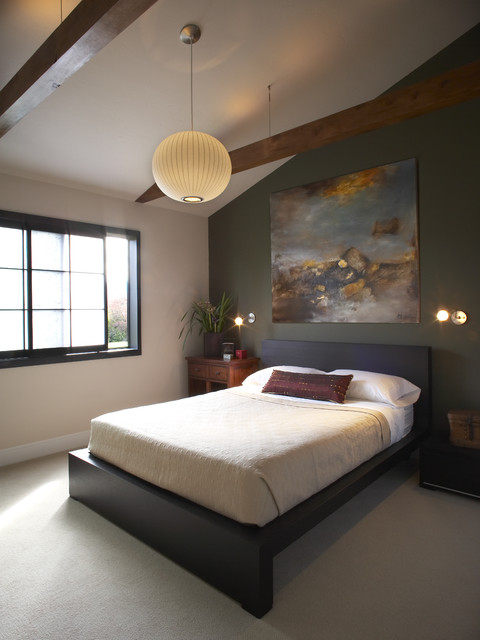 Malm Bed Bedroom Asian with Accent Wall Bedside Table