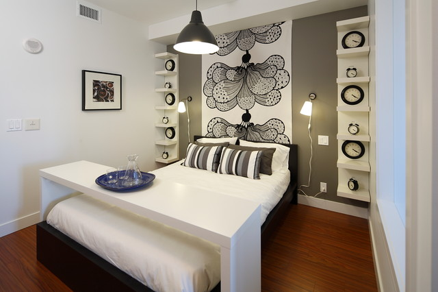 Malm Bed Bedroom Contemporary with Above Bed Table Bed Table