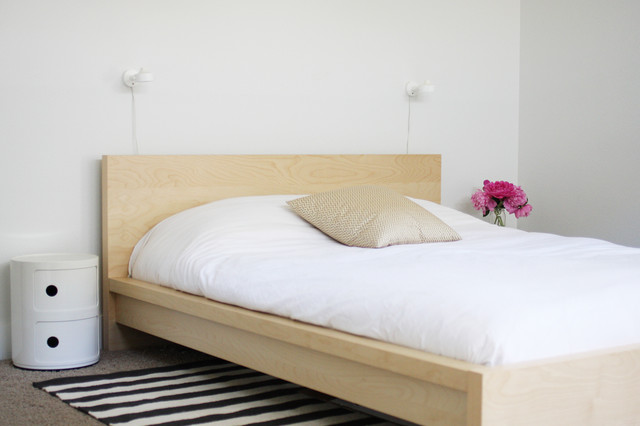 malm bed Bedroom Scandinavian with area rug bedside table