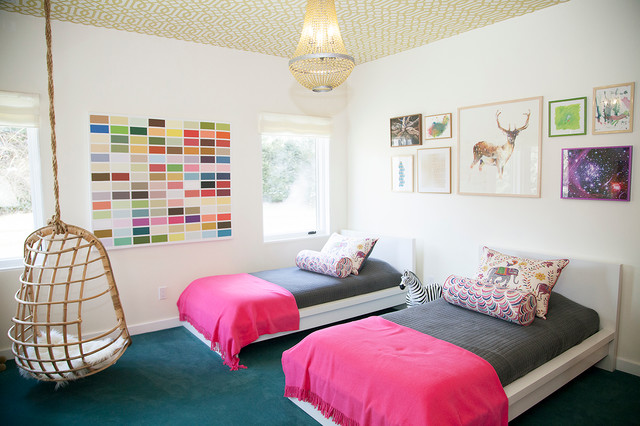 Malm Bed Kids Eclectic with Bolster Carpeting Colorful Fuchsia