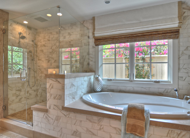Marazzi Tile Bathroom Beach with Casement Windows Ceiling Lighting