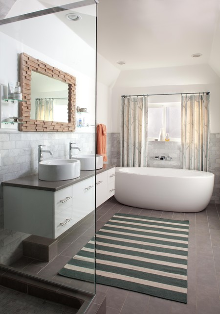 Marazzi Tile Bathroom Contemporary with Birch Tree Fabric Curtains