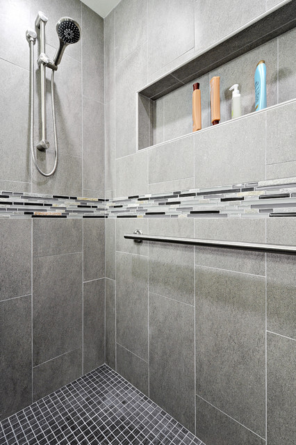 Marazzi Tile Bathroom Transitional with Brushed Nickel Finishes Contemporary