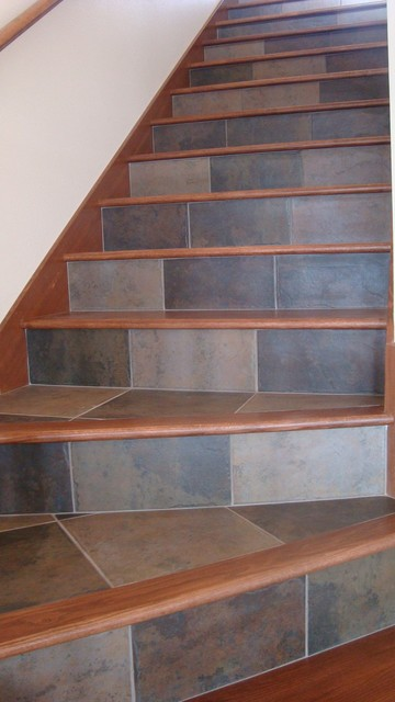 Marazzi Tile Staircase Contemporary with Blue Tile Bluestone Bluestone
