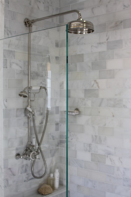 Marble Subway Tile Bathroom Contemporary with Glass Shower Divider Marble