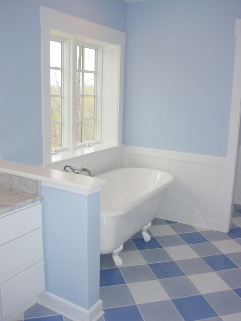Marmoleum Bathroom Traditional with Bath Blue Paint Blue