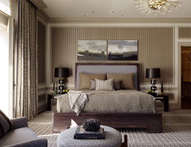 Masculine Bedding Bedroom Contemporary with Brown Bedding Chandelier Dark