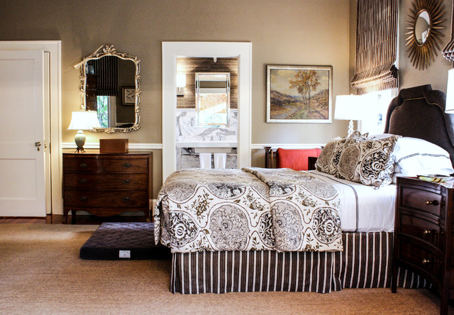 Masculine Bedding Bedroom Traditional with Brown and White Bedding