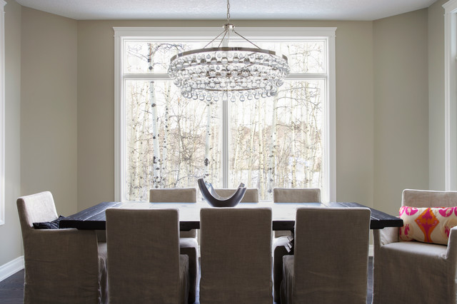 Masins Furniture Dining Room Transitional with Aspens Beige Slipcovered Dining