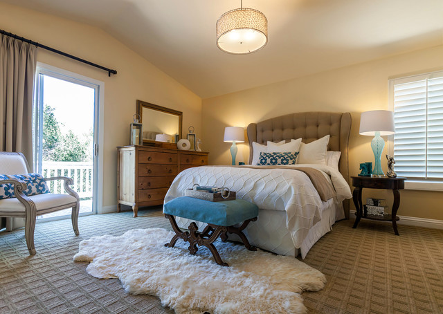 Masland Carpet Bedroom Transitional with Blue Accents Blue Lamps