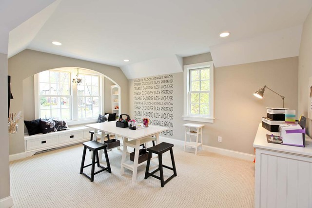 Masland Carpet Home Office Traditional with Baseboards Built in Storage