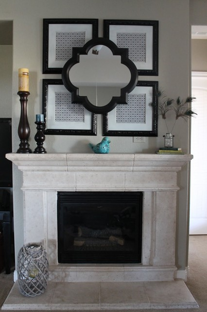matted picture frames Living Room Eclectic with mantel mirror quatrefoil mirror