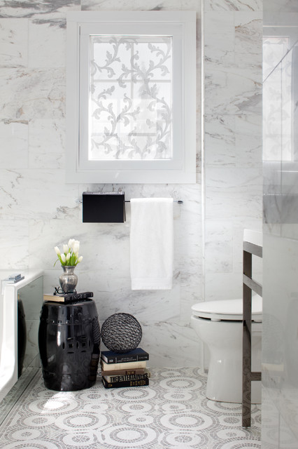 Maxwell Fabrics Bathroom Contemporary with Chinese Garden Stool Gray