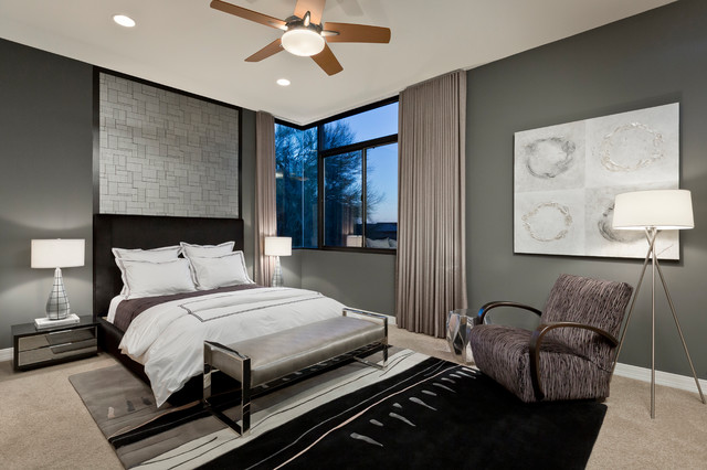 Maxwell Fabrics Bedroom Contemporary with Benjamin Moore Kendall Charcoal