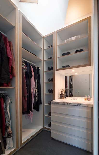 melamine shelving Closet Contemporary with Burnished concrete closet dresser