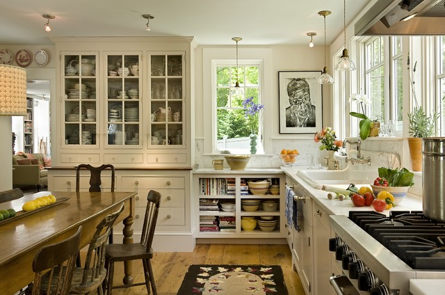 messy marvin Kitchen Farmhouse with china cabinet china on